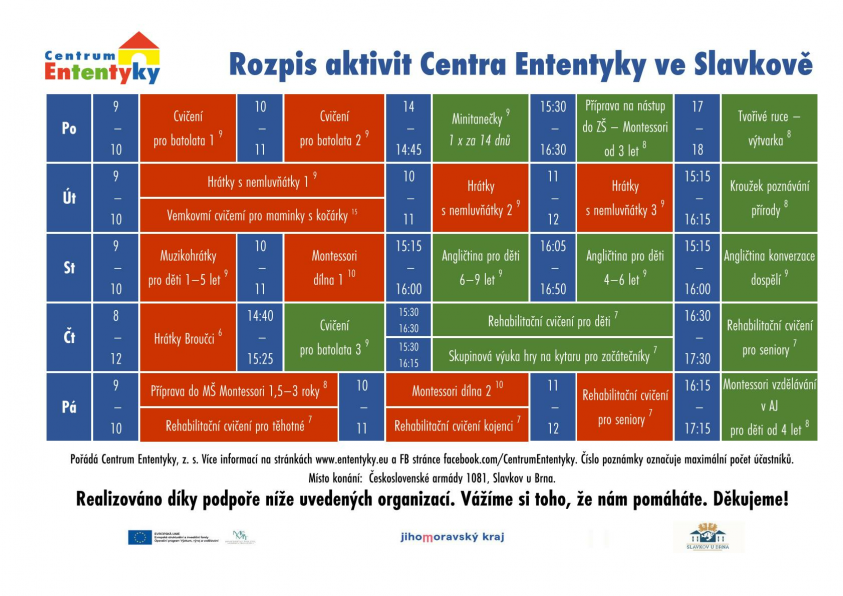 Kroužky a aktivity ve Slavkově a v Heršpicích ve školním roce 2021/2022