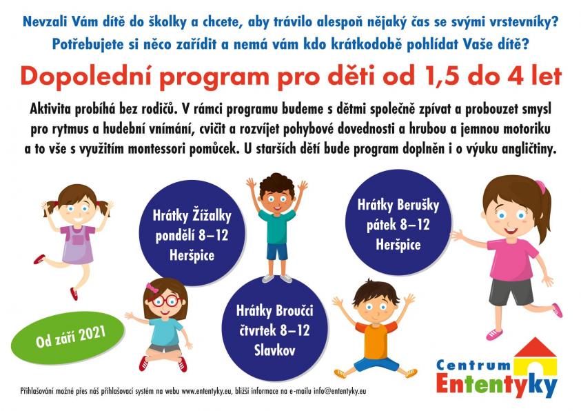Dopolední PROGRAM pro děti od 1,5 do 4 let během školního roku