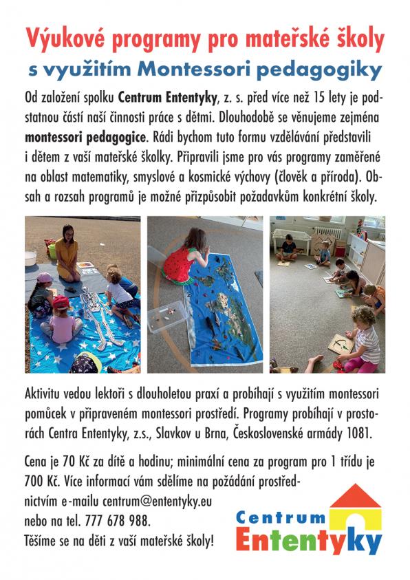 Nabídka montessori programu pro školky